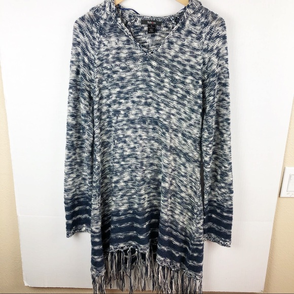 Style & Co Dresses & Skirts - Style & Co. Blue and white fringe sweater dress XL